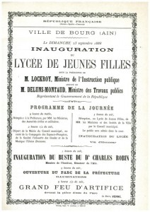 Affichette de l'inauguration du lycée de Jeunes filles, 23 septembre 1888