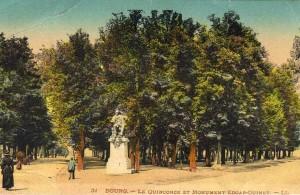 Carte postale colorisée du square des Quinconces, début XXe s., Bourg-en-Bresse