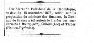 Décret du 15 novembre 1873 publié dans le Journal Officiel