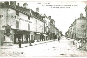 Le bas du boulevard de Brou et l'ancien buste de Charles Robin, médecin et sénateur de l'Ain.
