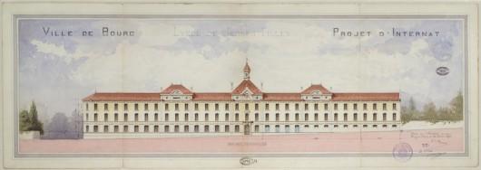 Plan de façade aquarellé du lycée par l'architecte Tony Ferret, 10 décembre 1890