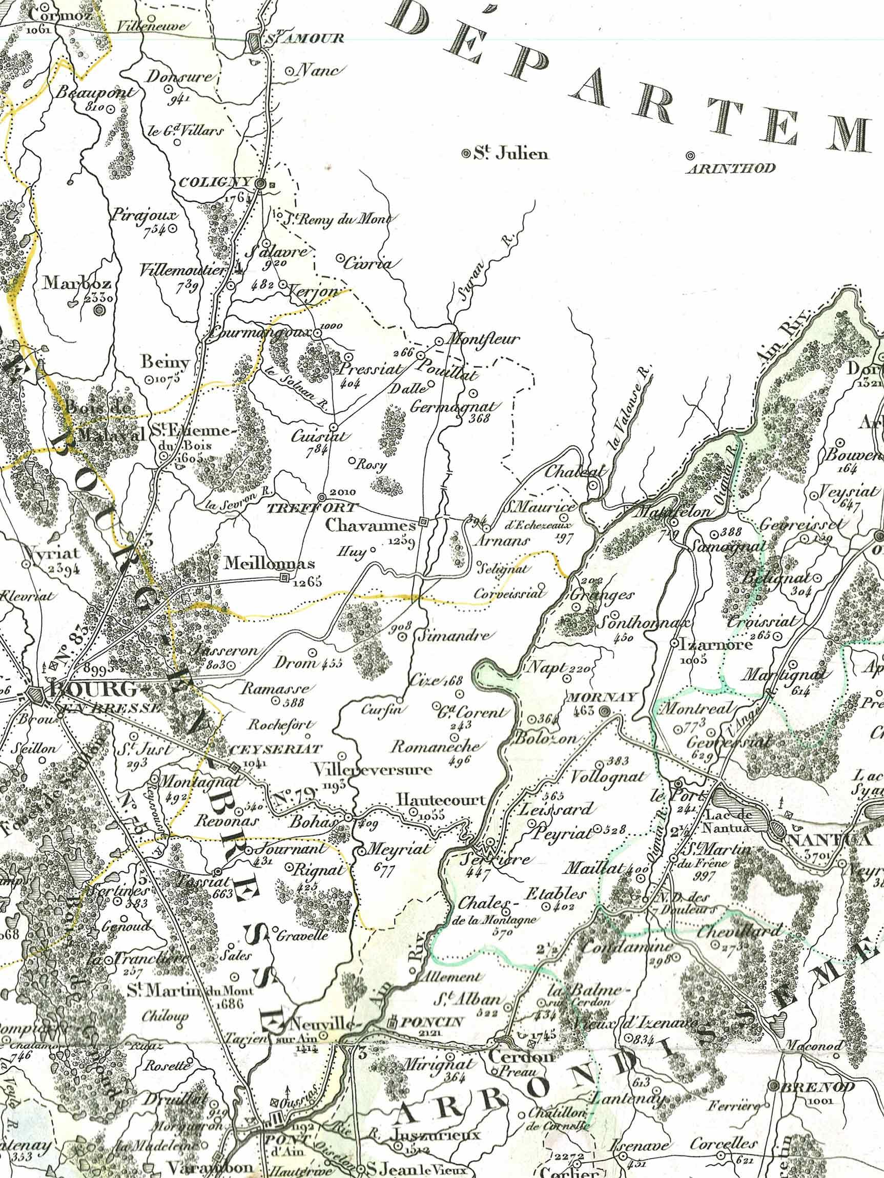 Carte du Revermont en 1841