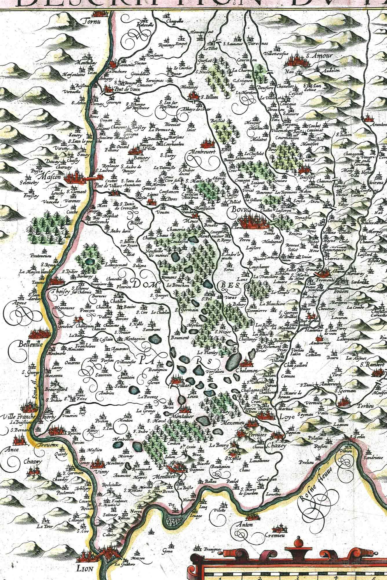 Carte du pays de Bresse en 1632