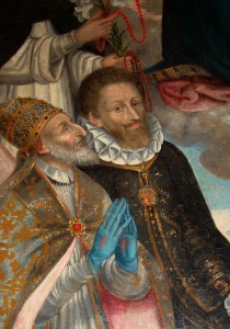 Détail du tableau « La Vierge au Rosaire » peint par Vespasiano Longo vers 1606 et conservé au château des Allymes. Selon les interprétations, le personnage à côté du pape serait le duc Charles-Emmanuel de Savoie ou René de Lucinge