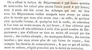 Extrait d'un mémoire sur la formation du département de l'Ain en 1790. L'auteur Thomas Riboud exprime les distances en lieues.