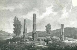Gravure romantique du temple d'Izernore par Hubert de Saint-Didier au début du XIXe siècle