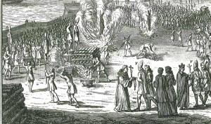 Le bûcher : un exemple d'exécution publique sous l'Ancien Régime. Cérémonies et coutumes religieuses de tous les peuples du monde, Bernard Picart, 1739