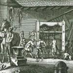 Le travail à ferrer d'après une gravure du XVIIIe siècle