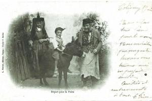 Scène de départ pour la foire, vers 1900